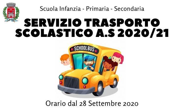 Trasporto scolastico dal 28 settembre 2020